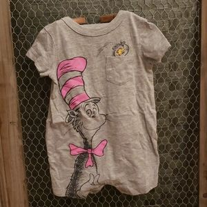 Baby Girl Dr. Suess Cat in the Hat Romper 0-3M